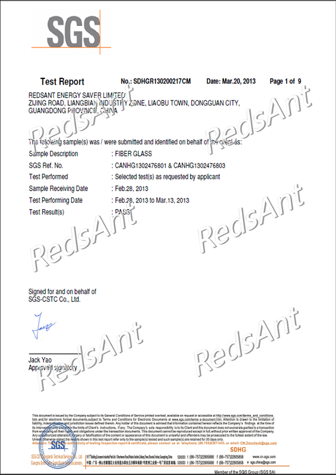 Fiberglass Insulation Cover Certification
