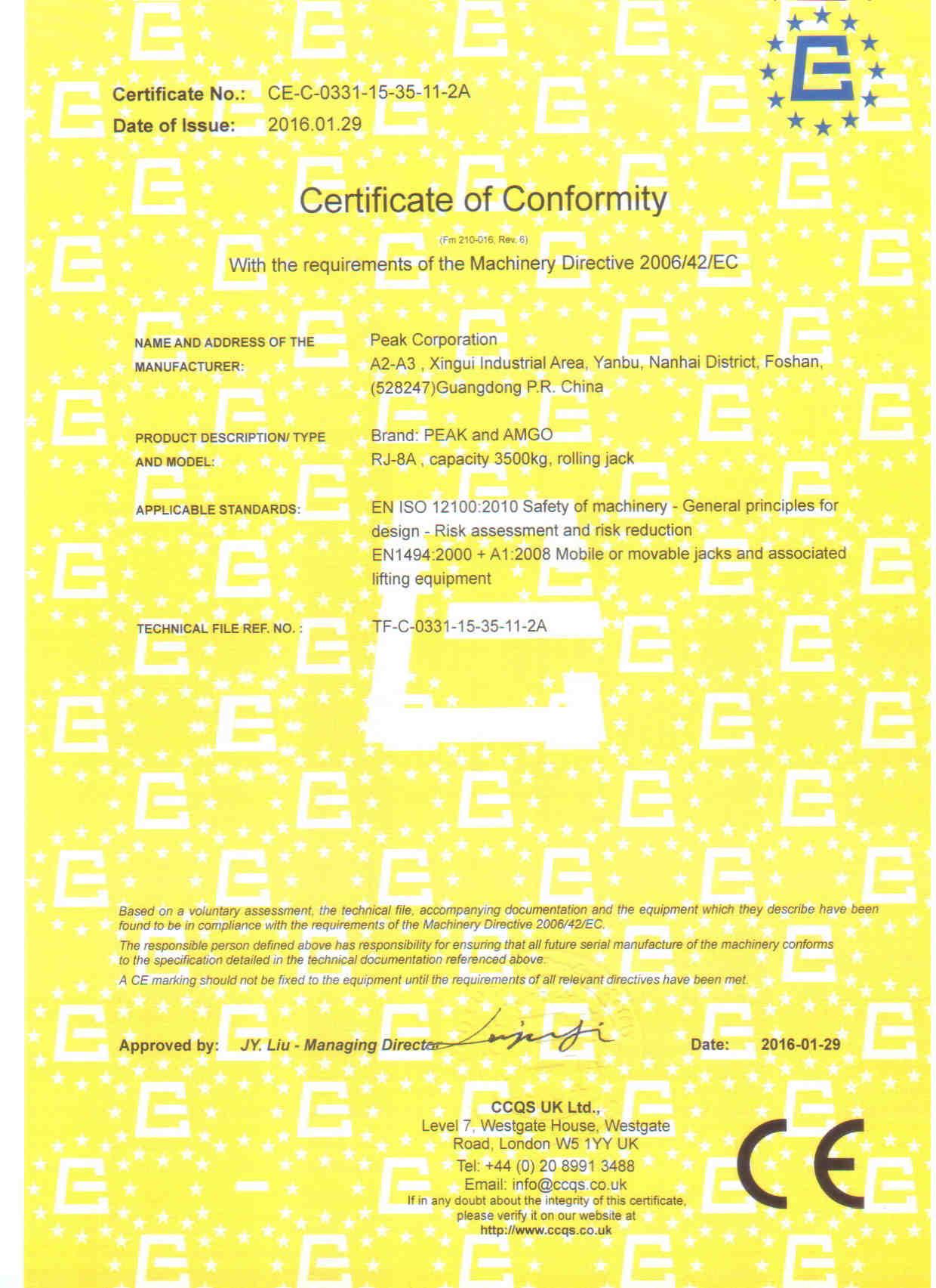 CE Certificate (Model: RJ-8A)
