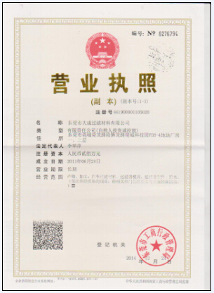 BUSINESS CERTIFICATE