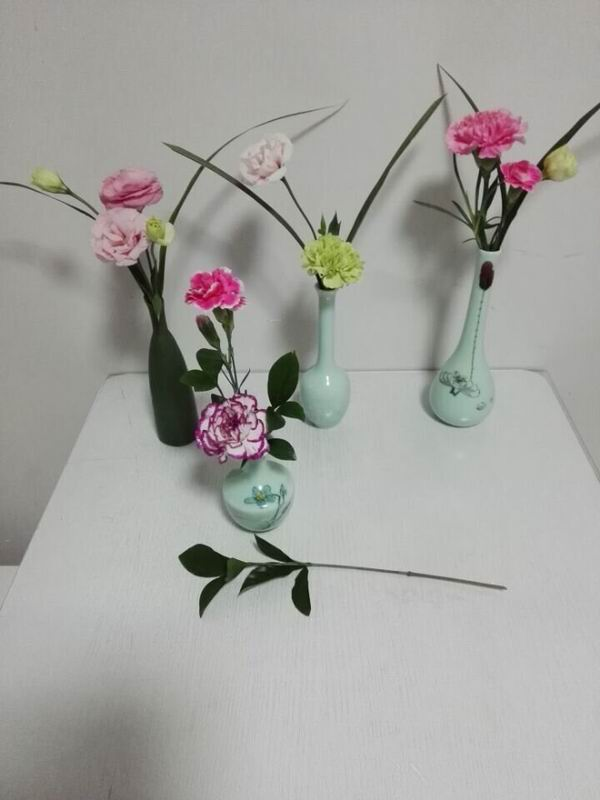 Employees flower arranging