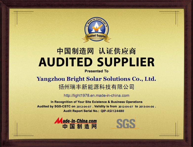 SGS Audited Supplier from Made in China