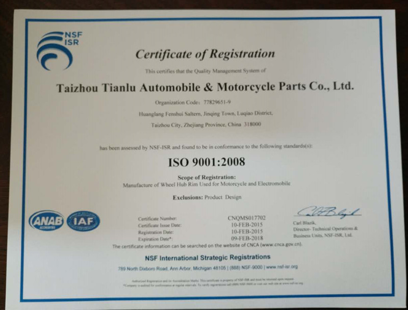 ISO9001:2008 Certificate of TACLOO Wheel Rim