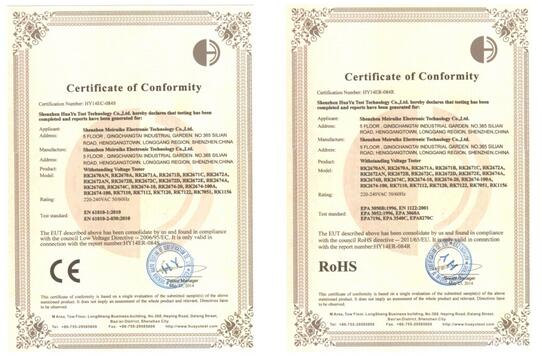CE and ROHS Certificates