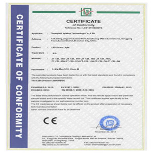 CE of LED Downlight
