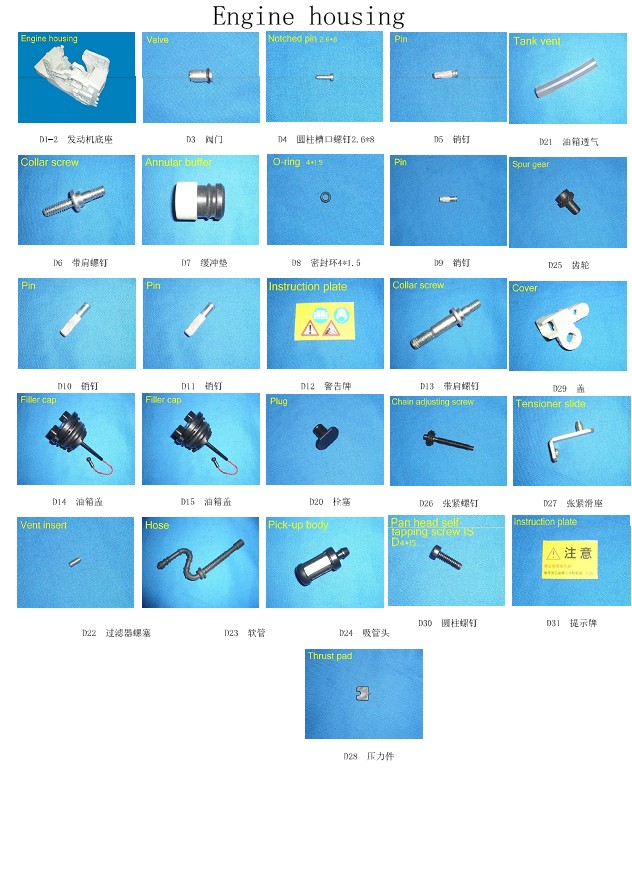 Small Machine parts for Chain Saw, Lawnmower