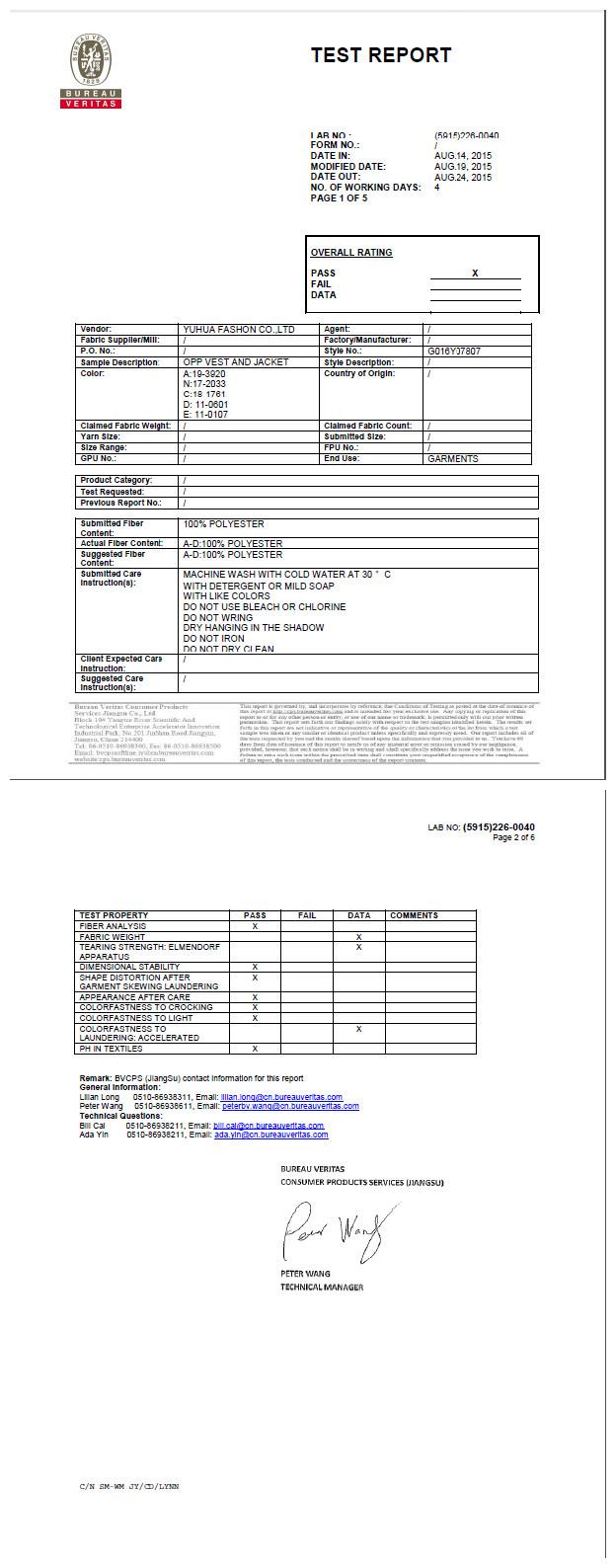 BV Certificate of 300T Pongee