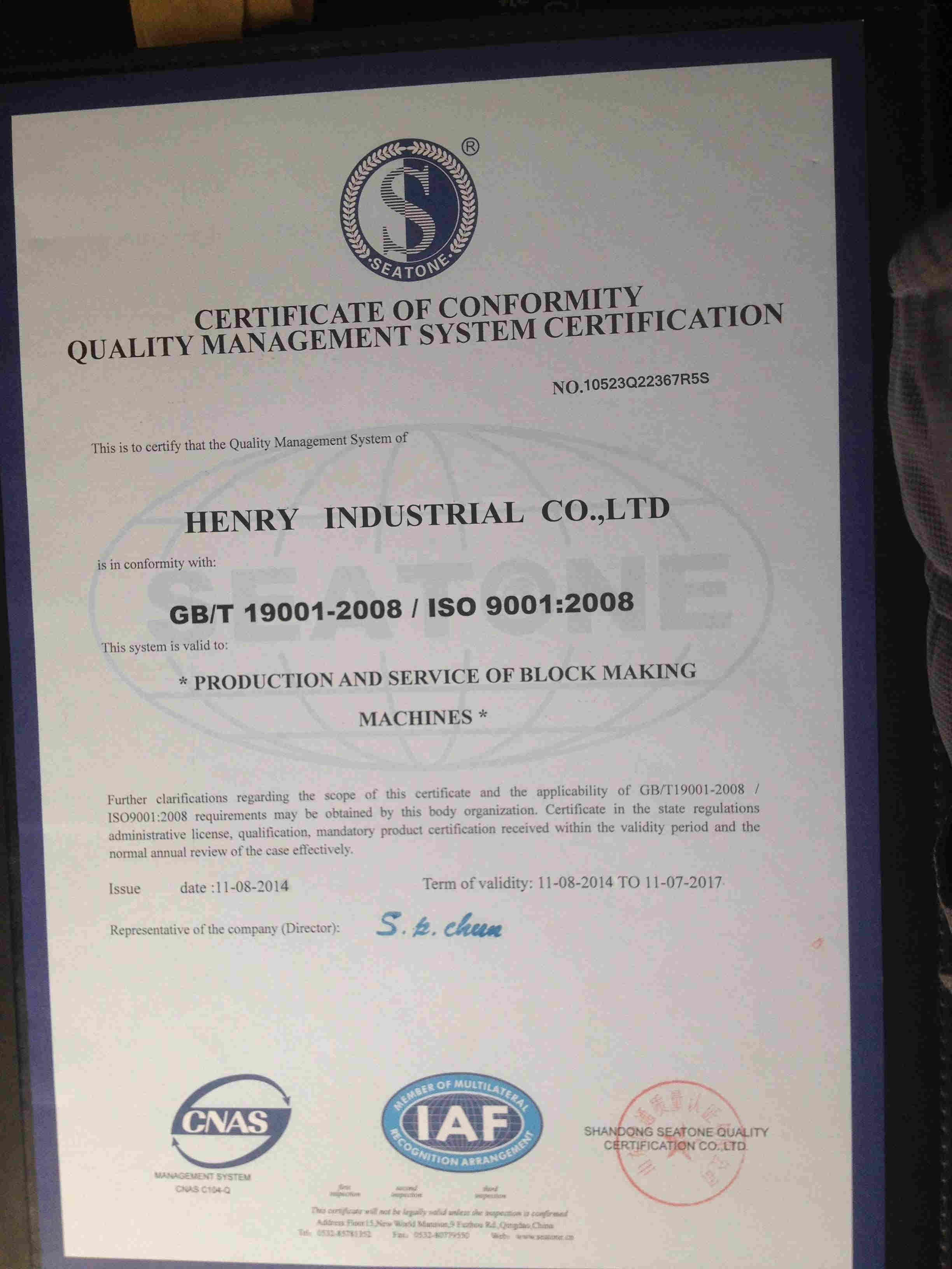 ISO 9001 Manage system