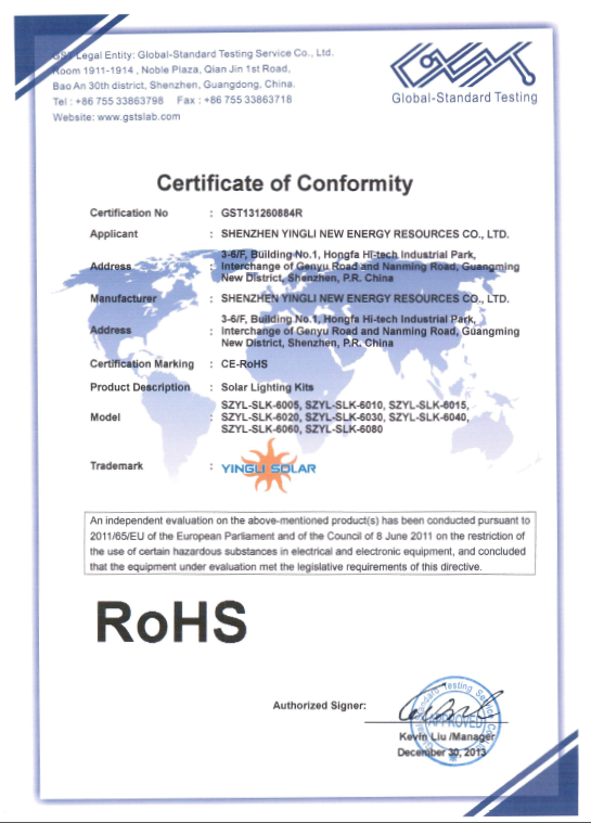 ROHS CERTIFICATE of SOLAR LIGHTING KITS