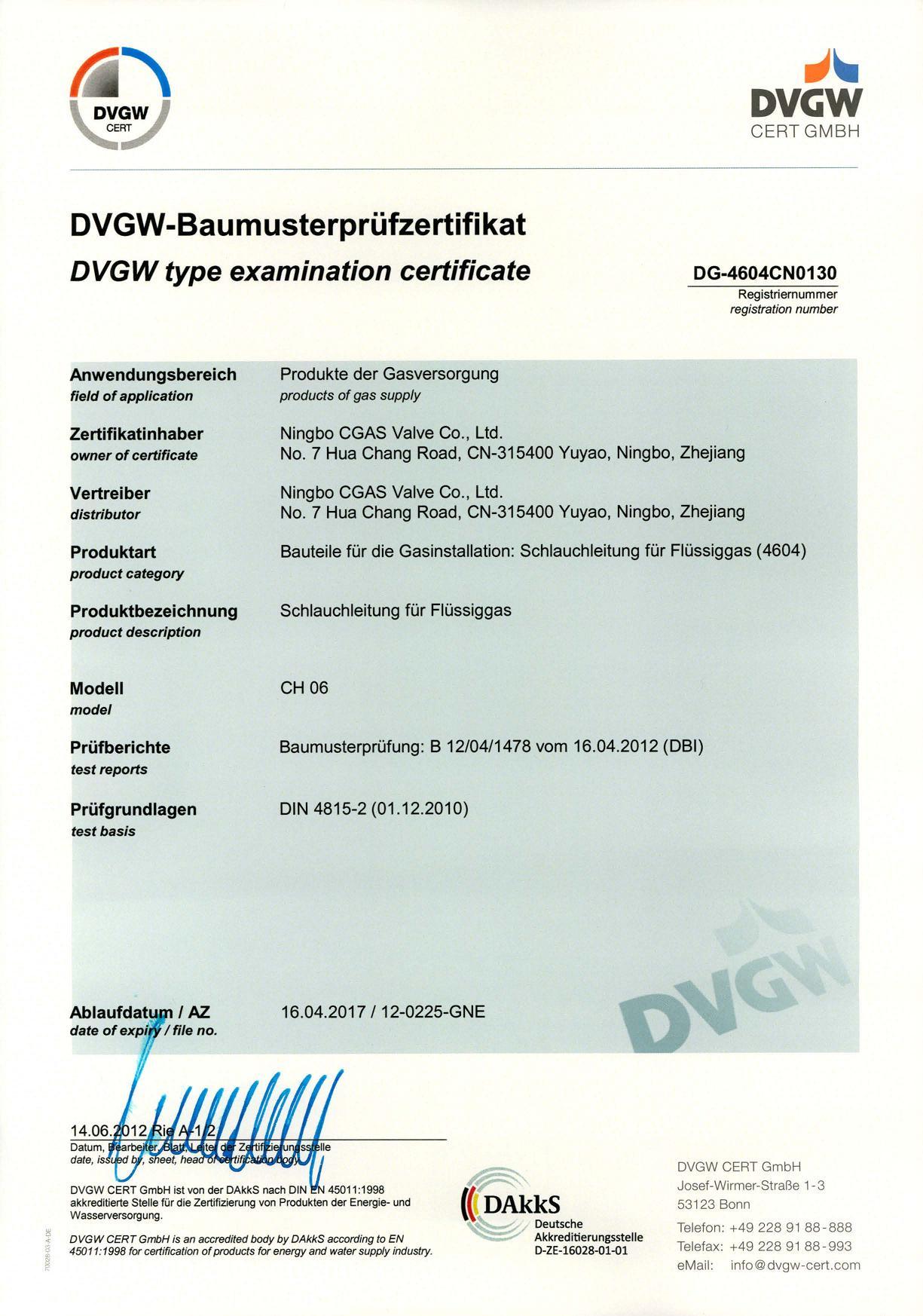 DVGW CERTIFICATE for REGULATOR and HOSE