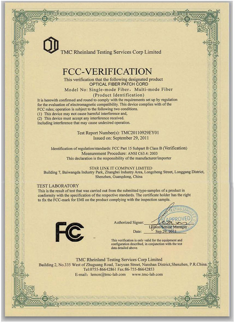FCC Ceritificate For Lan Cable and Fiber Optic