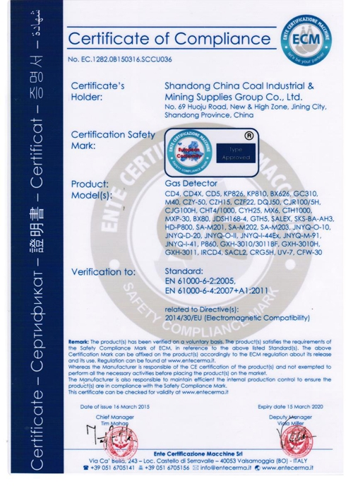 CE Certificate of Gas Detector