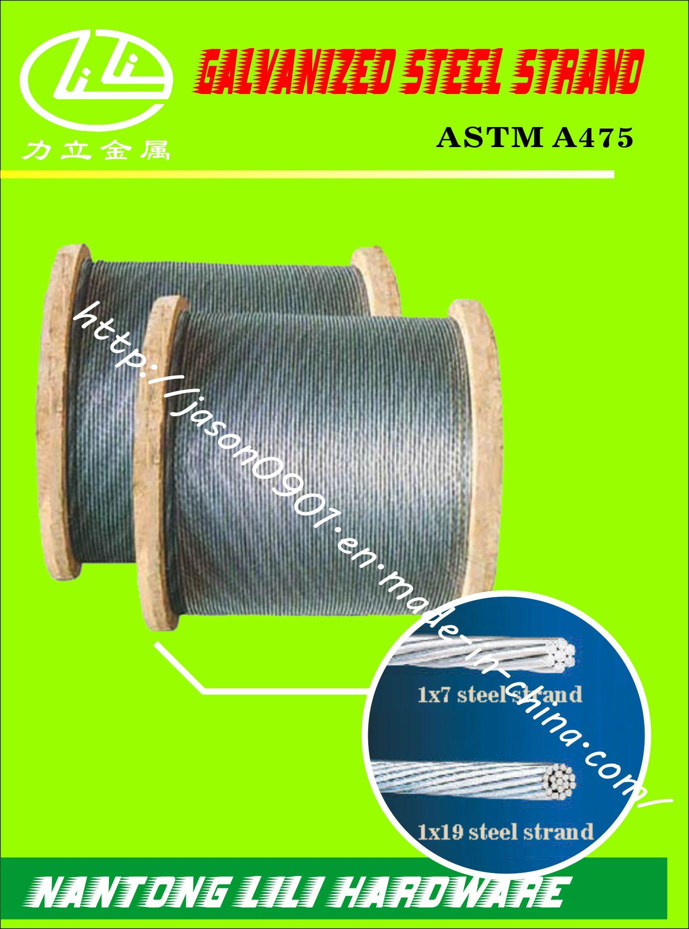 ASTM A475 Galvanzied Steel Strand (CLASS a EHS)
