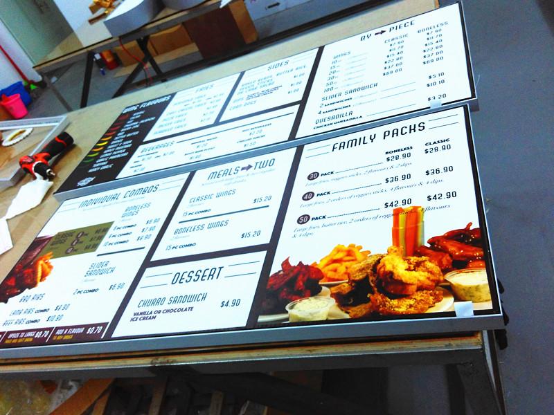 menu board with frameless fabric led light box in Brunei