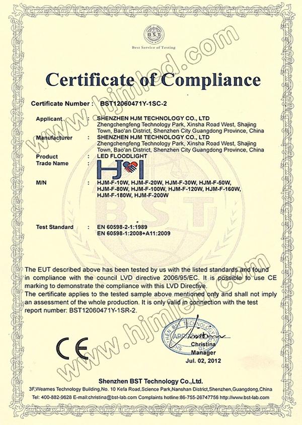 HJM LED Floodlight CE Certification