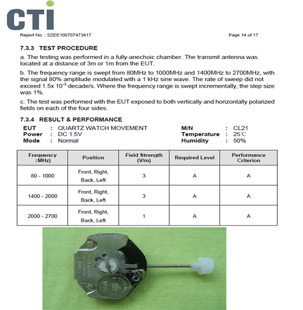 CE test report for digital quartz watch movement