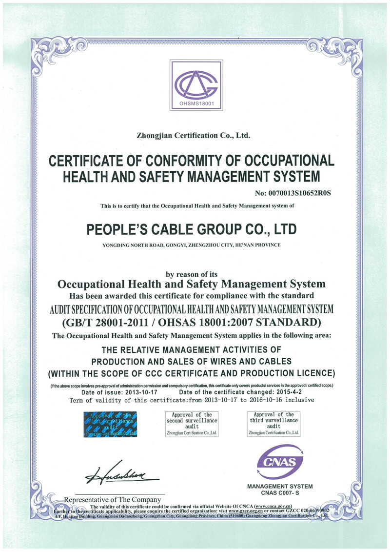 OHSAS18001:2007 STANDARD