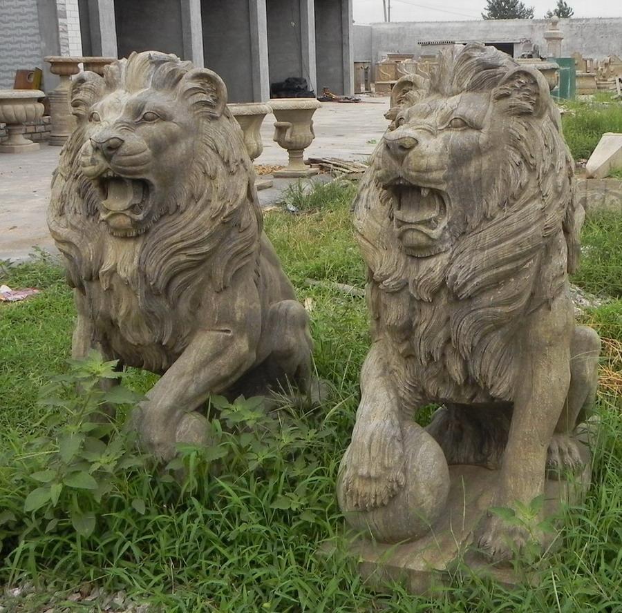 antique stone lion sculpture