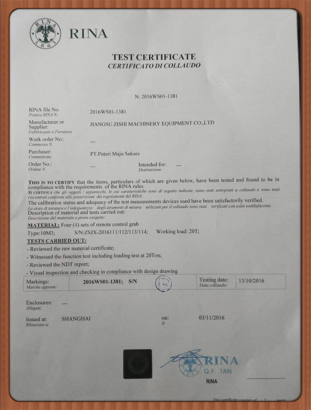 Rina certificated Approved