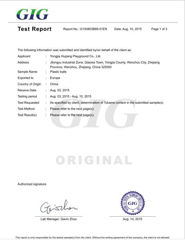 Toluene test report for Ocean Ball.