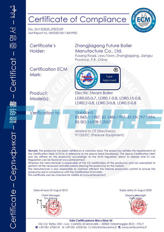 CE Certificate for Electric Steam Boiler