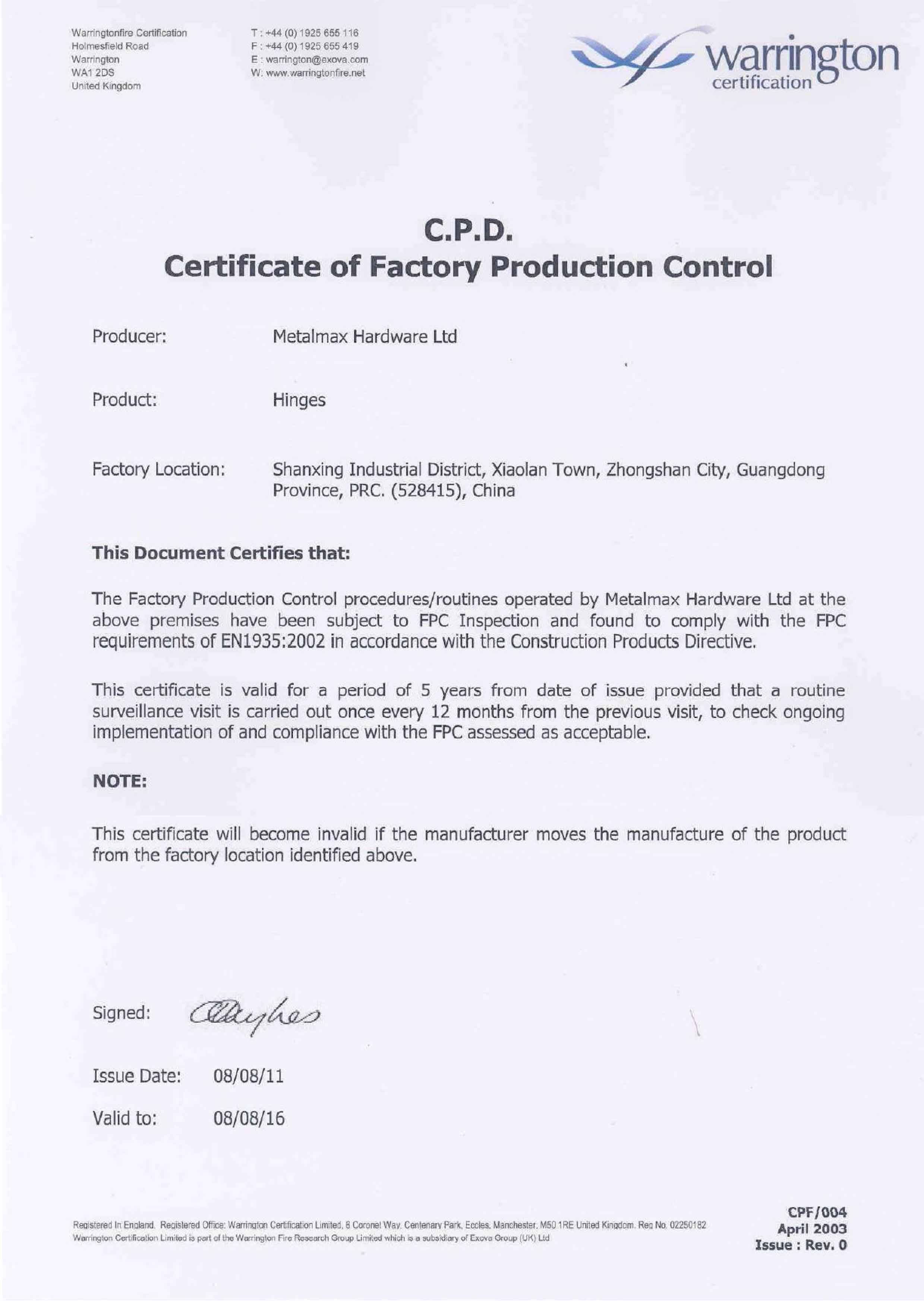 Certificate of Factory Production Control