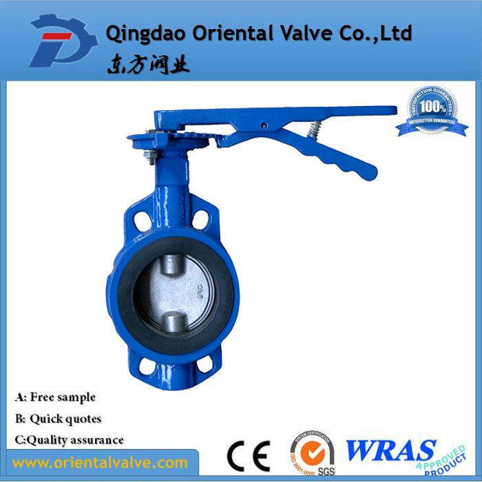high quality complete cast irron wafer connection pneumatic butterfly valve with actuator