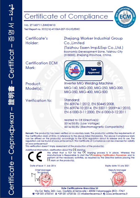 Inverter MIG Welding Machine CE Certificate