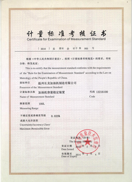 Certificate of Examination Of Measurement Standard