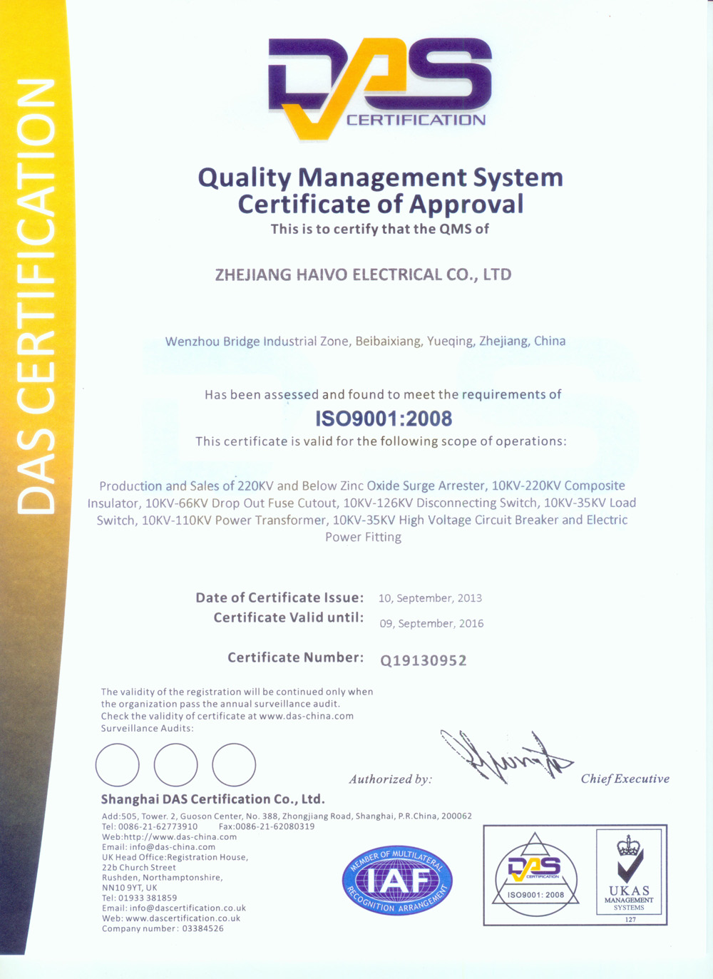 Quality Management System Certificate of Approval ISO9001:2008