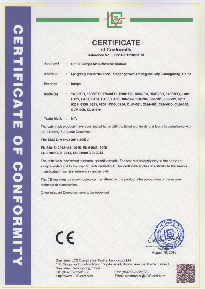 CE certificate for lamps