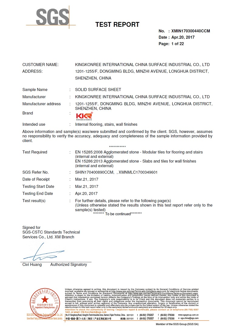 Solid Surface Sheet SGS test report