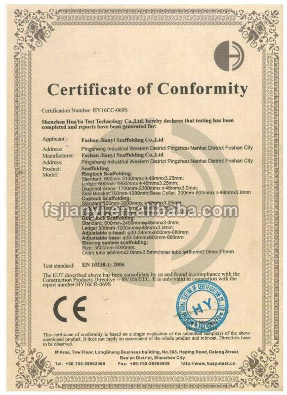 Foshan jianyi Scaffolding CE Certificate