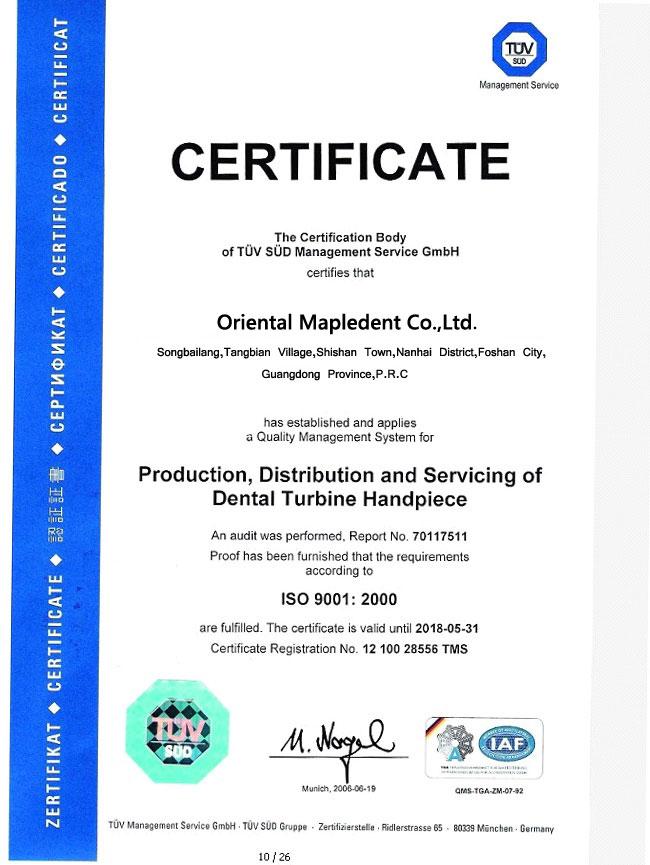 dental handpiece turbine certification