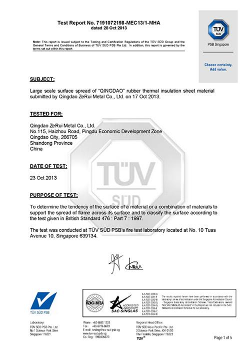 Class 1 Certificate - Rubber Insulation Tube - Qingdao ZeRui Metal ...
