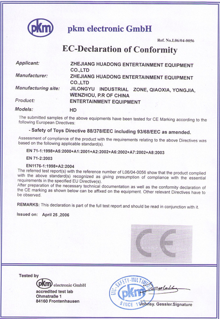 Huadong Play CE certificate for toy safety passed EN71 & EN1176