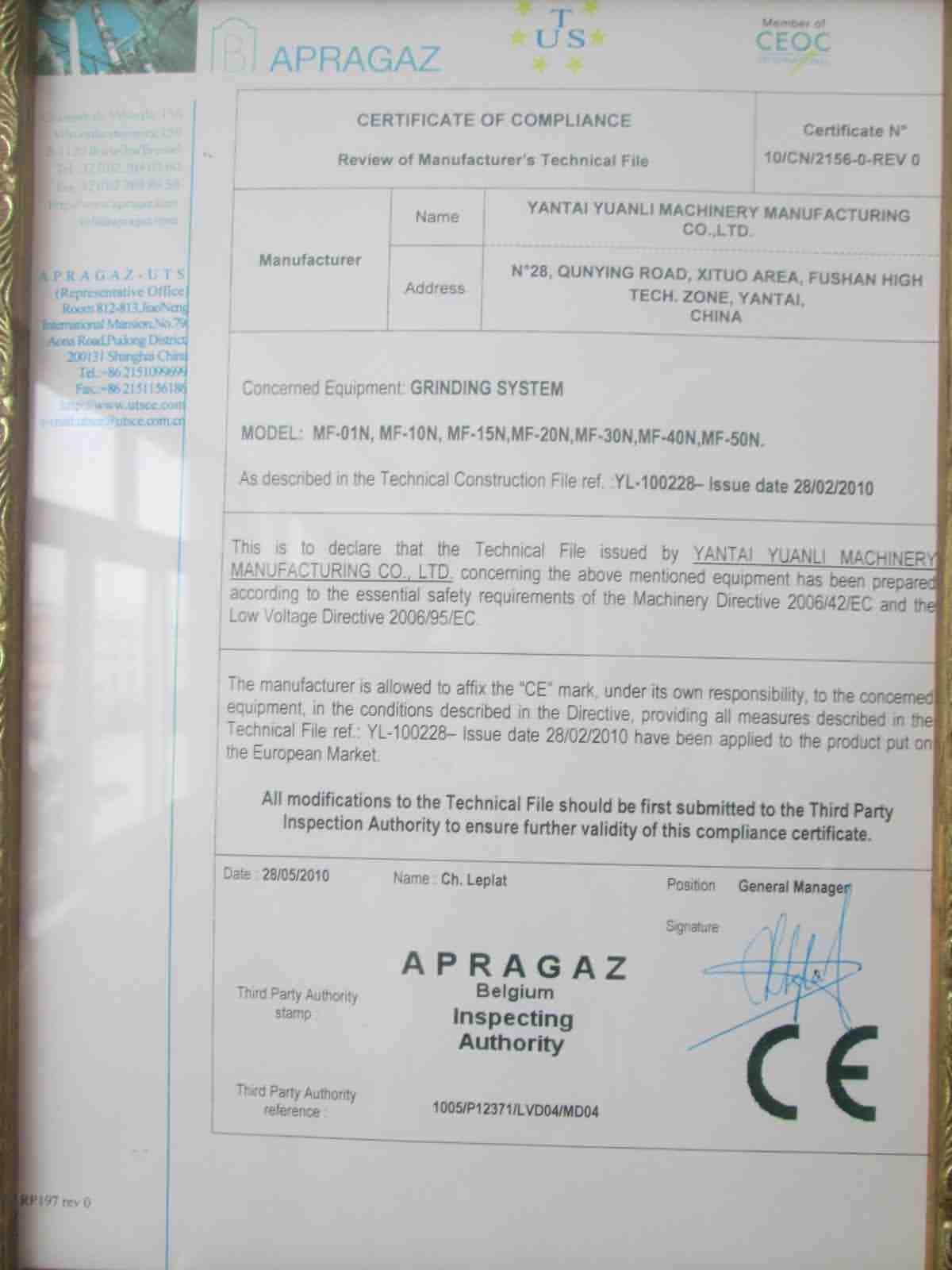 Grinding System CE Certificate