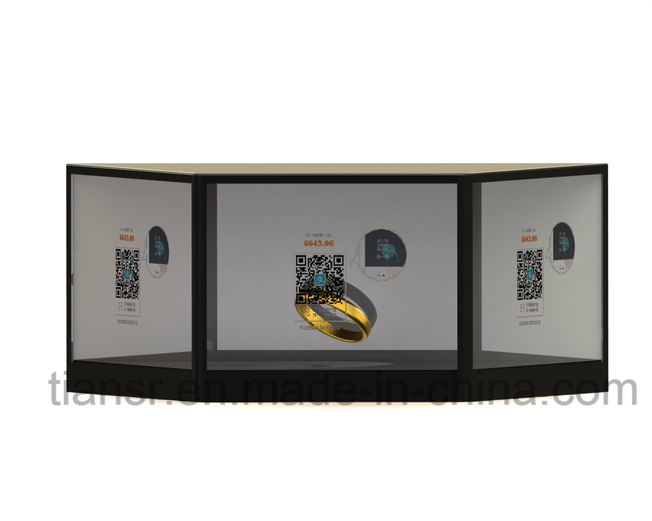 21.5inch Three Sides Transparent Graphic Display Stand