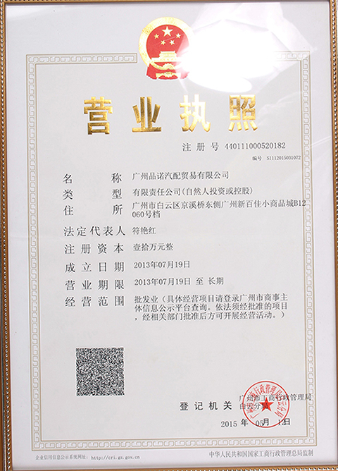 Pinnuo Company Certificate