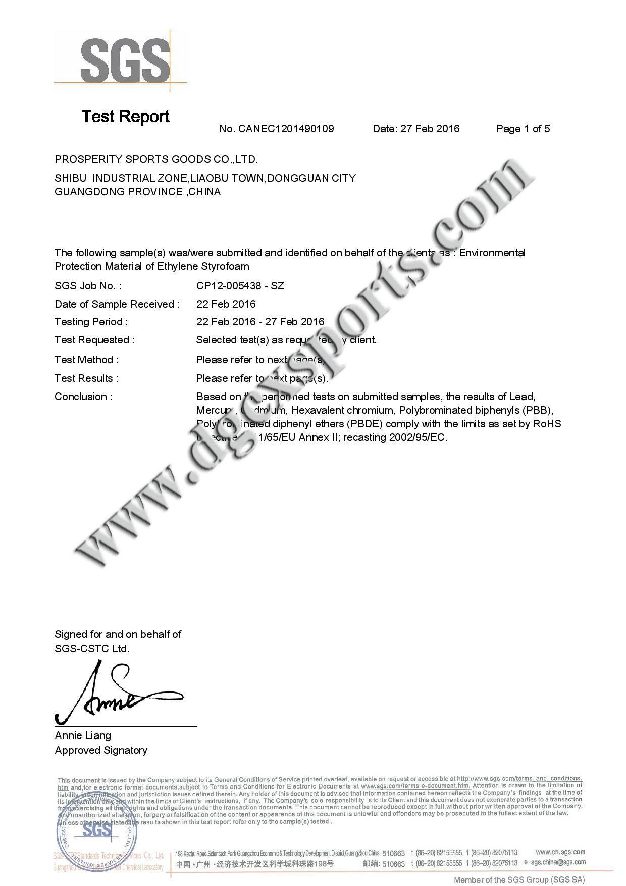 EVA SGS certificate