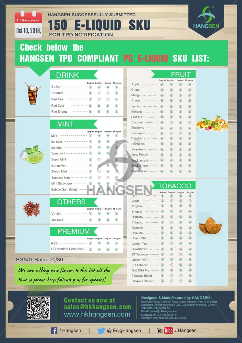 Hangsen TPD compliant PG E-liquid SKU list