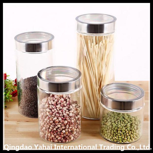 set clear straight glass jar