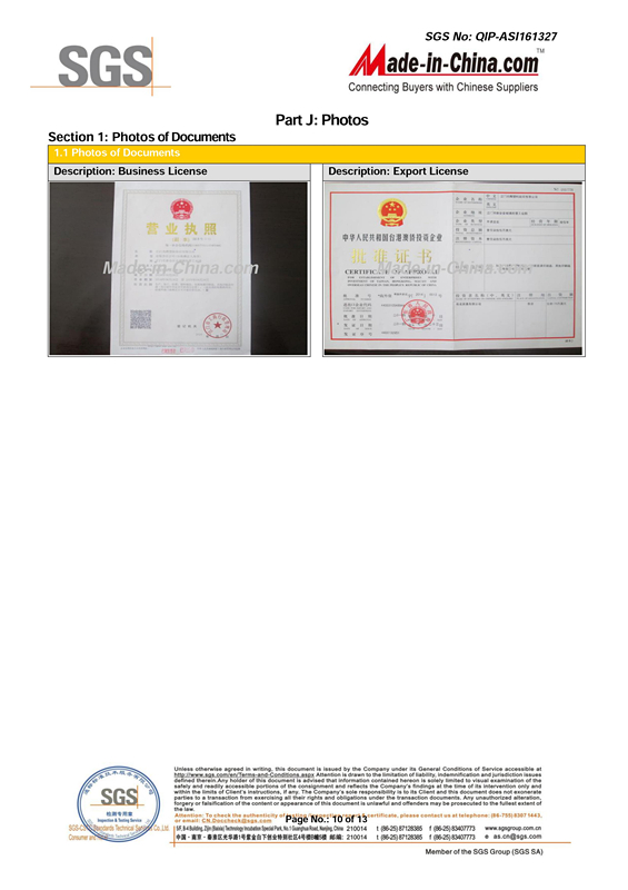 SGS Certification - Document of Company
