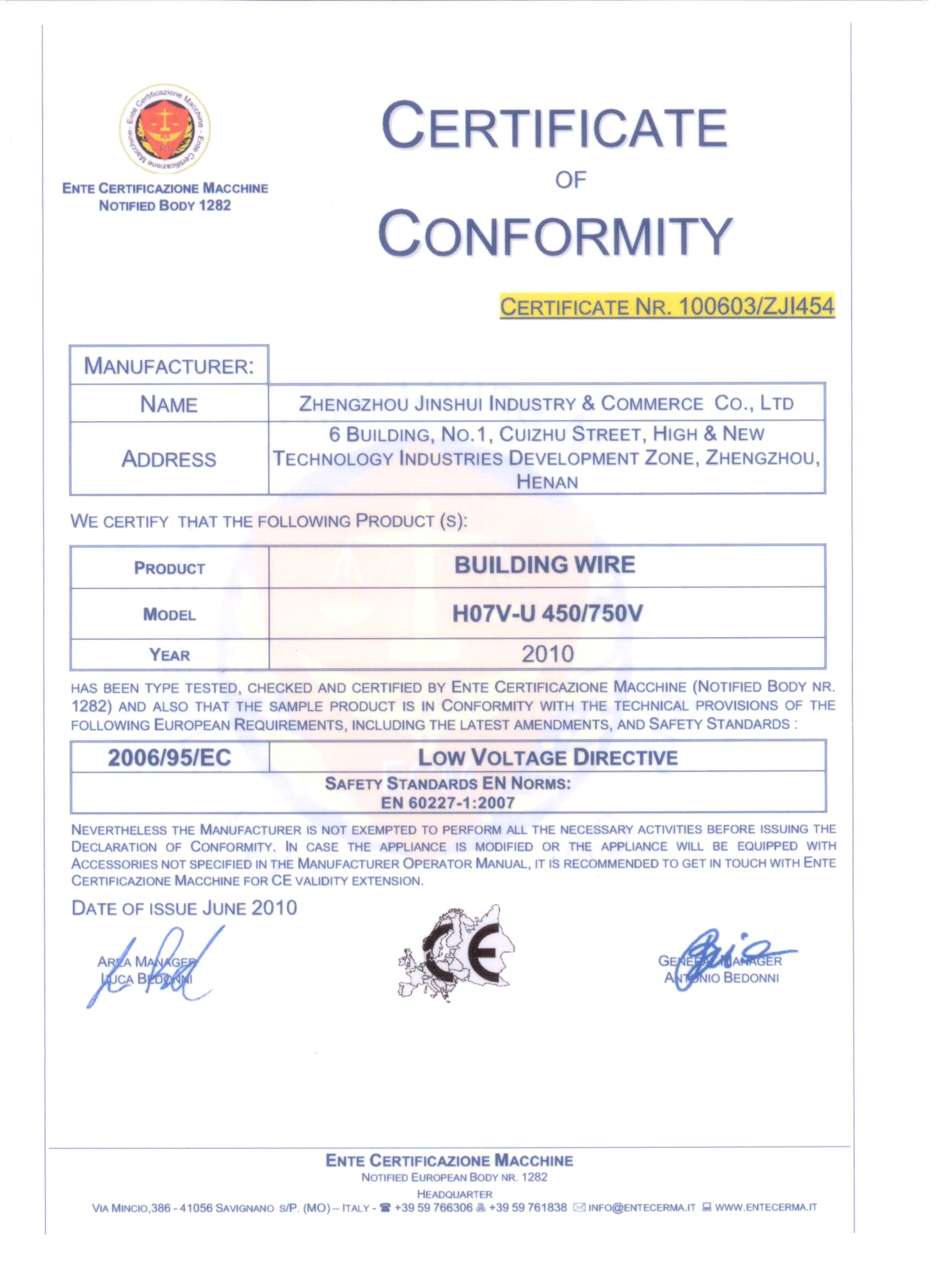 CE Certificate for Wire