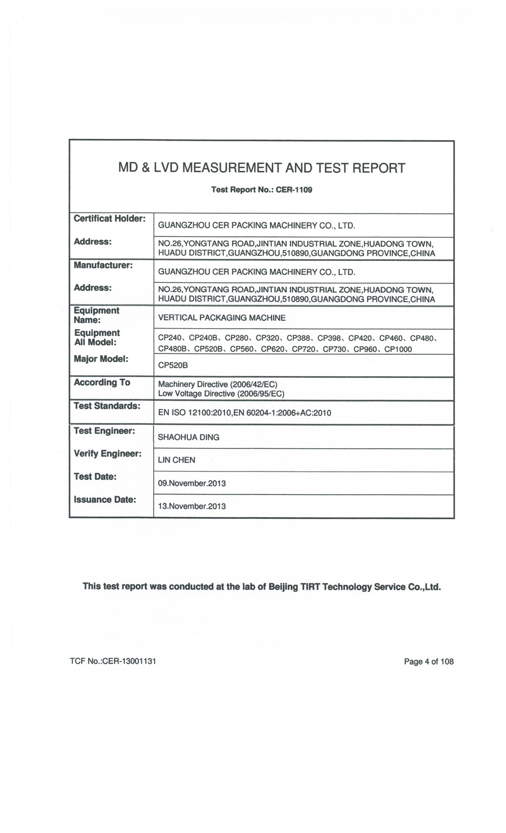 MD and LVD MEASUREMENT and TEST REPORT
