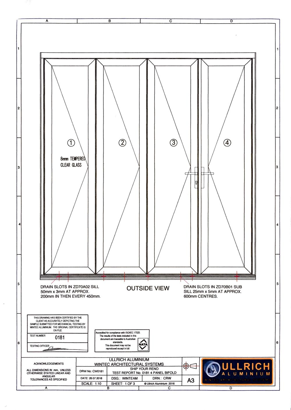 Australia standard for Bifold door