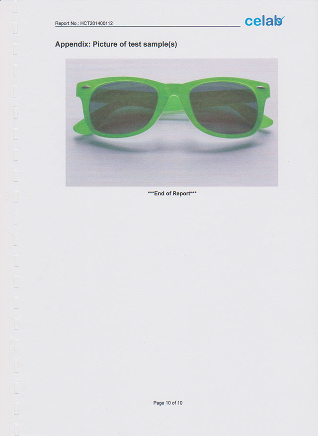 test report of sunglasses