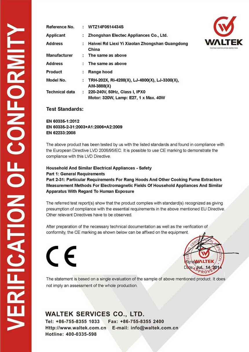 Range Hood CE Certificate