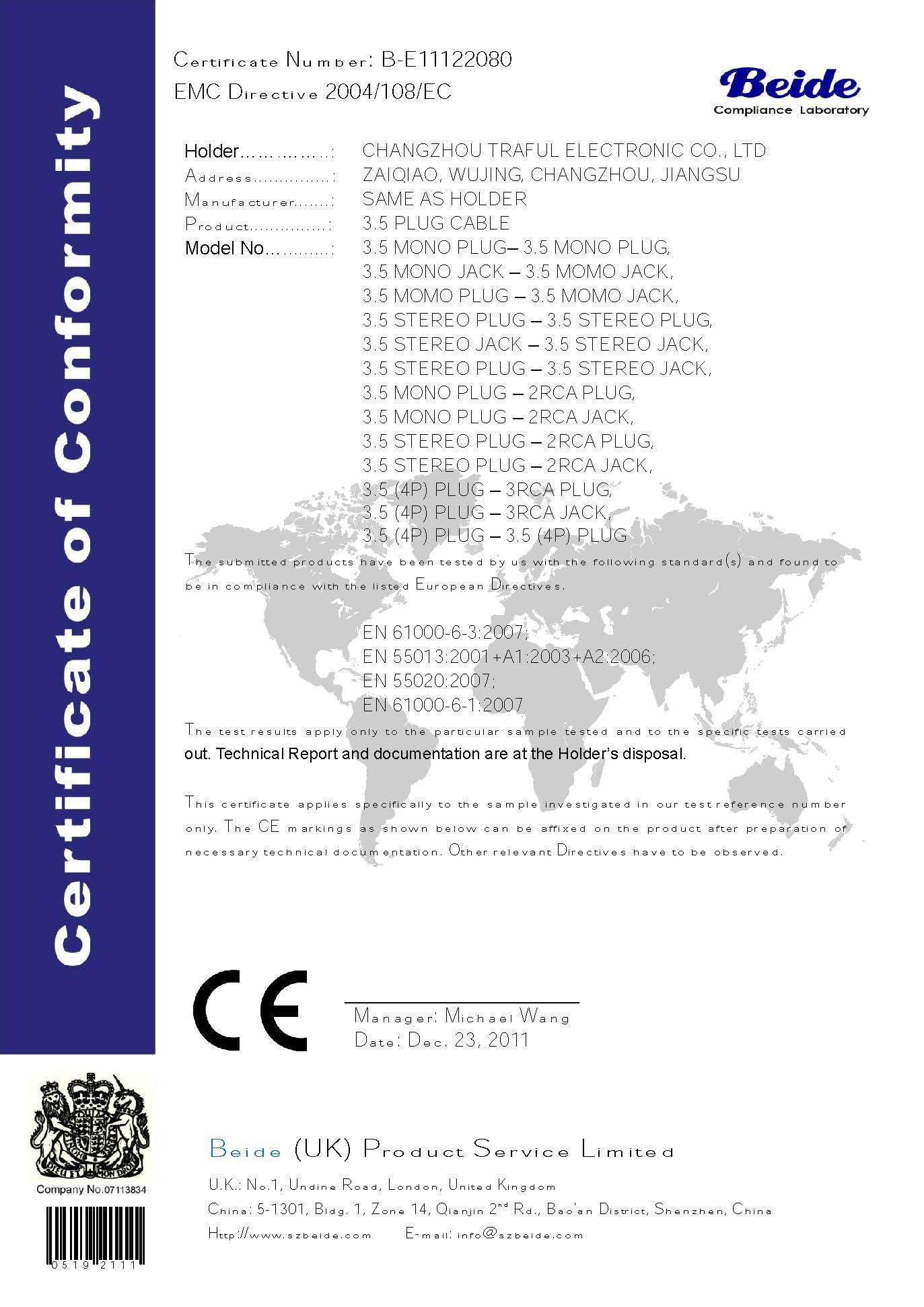 CE 3.5MM AUX CABLE