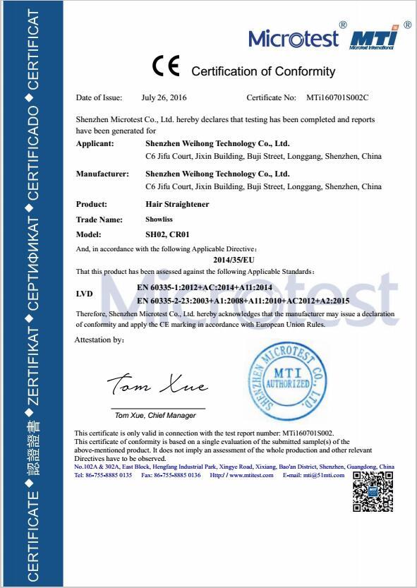 Hair Straightener CE LVD Certificate