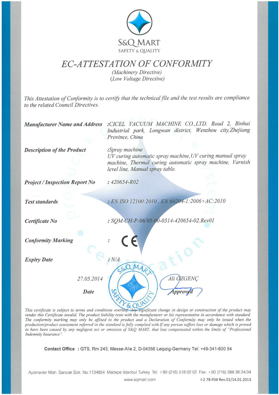 CE Certificate of UV spray machine